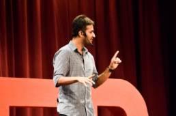 Gautam on TED x stage