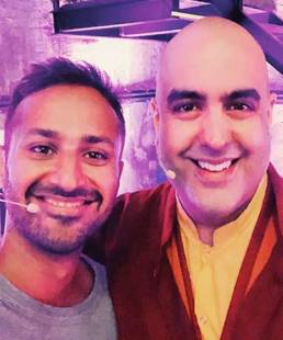 Gautam Khetrapal with Gelong Thubten, Mindfulness Teacher of Dr. Strange starcast